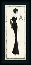 Elegance Diva II French Woman Black Dress Framed Art Print Wall Décor Picture