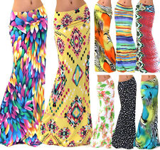 USA MADE COLORFUL HIGH WAIST FOLDOVER PRINT FULL LENGTH LONG MAXI SKIRT S M L XL