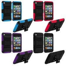 Color Hybrid Hard/Soft Case Cover with Mini Stand for iPod Touch 4th Gen 4G 4