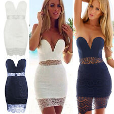 Women's Lace Bandage Bodycon Sleeveless Evening Party Cocktail Pencil Mini Dress