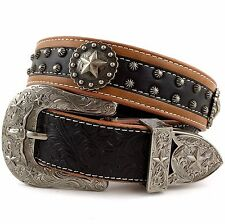 Premium Western Cowboys Mens Genuine Leather Star Tooled Concho Buckle Belt