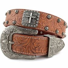 Premium Western Cowboys Mens Genuine Leather S Cross Tooled Concho Buckle Belt