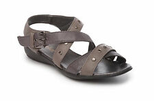 New Ladies Wedge Sandal Summer Shoe Ankle Strap Size 3-8 Grey New