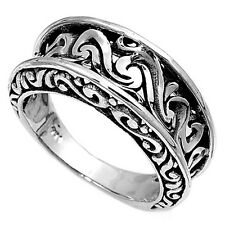 Sterling Silver Womans Unique Wave Wedding Ring Promise 925 Band 9mm Sizes 6-10