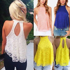Fashion Womens Casual Ladies Lace Loose Summer Vest Blouse Tank T Shirt Tee Tops