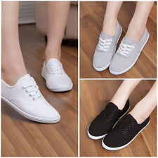 Women Girls Flat Colors Canvas Pumps Lace Up Casual Trainers Sneaker Shoes AU2-8