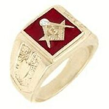 18K GOLD EP MASONIC FREEMASON RED MENS CZ RING size 8-14 YOU CHOOSE