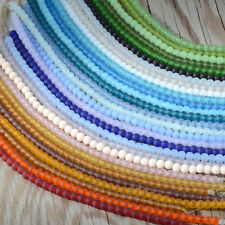 """More colors! 48 Pieces 4mm Round Cultured Sea Glass Beach Glass beads 8"""""""