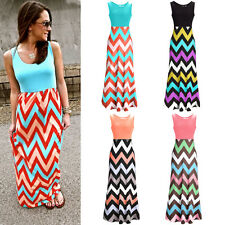 NEW Maxi Chevron Summer dress Style print Party Sleeveless prom formal dresses