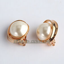 Fashion 18KGP Pearl Button Stud Earrings Clip-On