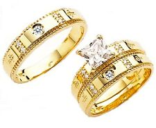14k SOLID YELLOW GOLD PRINCESS CUT HIS & HER  TRIO WEDDING BAND SET SIZE 5 -13