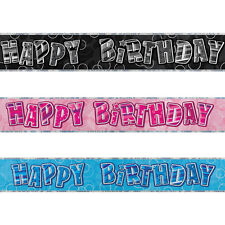 12ft Sparkle Happy Birthday Party Prismatic Foil Banner Decorations