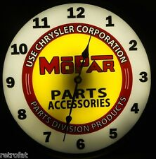 MOPAR PARTS ACCESSORIES Backlit Clock Lighted Sign Dodge Chrysler Plymouth Jeep