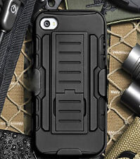 Black Hybrid Armor Rugged Stand Hard Case Cover W/ Holster Belt For iPhone 4 4S