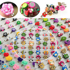 10/100pcs Wholesale Lots Bulk Mixed Polymer Clay Children Kids Boys Finger Rings
