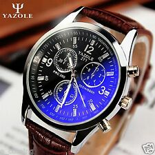 Mens Watch UNISEX Date Leather Stainless Steel Military Sport Quartz Wrist Watch