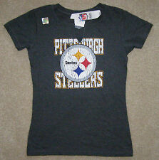 NFL Pittsburgh Steelers Womens Touch Distressed Retro Split Neck Shirt