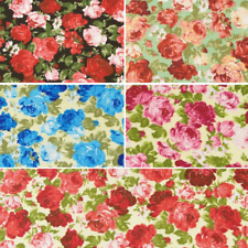 Fully Blooming Large Rose Heads Floral Polycotton Fabric