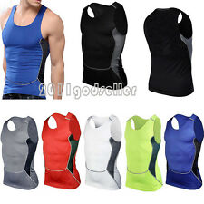 Mens Compression Sleeveless Sports Tight Shirts Fitness GYM Base Layer Tank Top