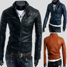 New Winter Fashion Men Warm Slim Faux PU Leather Casual Short Jacket Coat