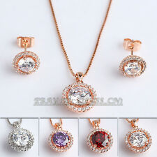 A1-S126 Fashion Micro Inlays Stud Earrings Necklace Jewelry Set 18KGP Crystal