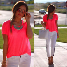New Women's Casual Loose  Blouse Short Sleeve Shirt T-shirt Summer Blouse Tops