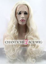 White Platinum Blonde Long Wavy Synthetic Hair Lace Front Wigs Heat Resistant