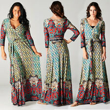 BOHEMIAN Multi/Red Jersey MAXI DRESS Faux Wrap MOROCCAN MOSAIC X-Long Skirt BOHO