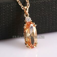 A1-P248 Fashion Solitaire Topaz Necklace Pendant 18KGP Swarovski Crystal