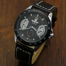 WINNER Automatic Auto Mechanical Date Mens Black Leather Sport Wrist Watch 365