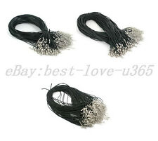 1.5MM 2MM 2.5MM 3MM Black Leather Cord Necklace Lobster Clasp Extension Chains