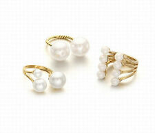 "Exquisite Elegant ""U"" Style Pearl Alloy Open Lady Finger Party Ring 3 Style"