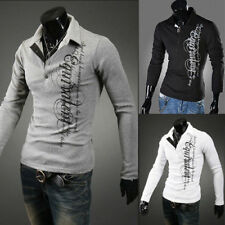 NEW Fashion Mens Slim Fit Stylish POLO Shirt Long Sleeve Casual T-shirts Tops AA