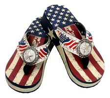 Montana West American Flag Bling Star Concho Flip Flops  Wedged Sandals