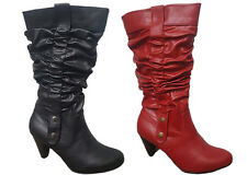 Ladies Boots No Shoes Fiesty Black or Red Pull on Mid Calf Boot Size 6-11 New