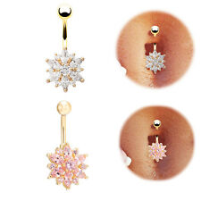 Charming Flower Piercing Jewelry 14G Crystal Rhinestone Navel Belly Button Ring