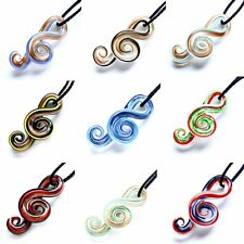 Wholesale Music Art Handmade Charms Murano Lampwork Glass Twist Pendant Necklace