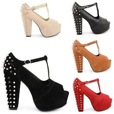 WOMENS LADIES HIGH BLOCK HEEL PLATFORM PEEP TOE SPIKE STUDDED SANDALS SHOES SIZE