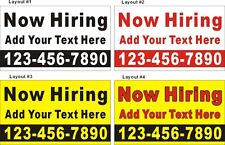 3ftX5ft Custom Printed Now Hiring Banner with Additional Text and Phone Number