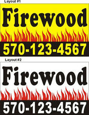 3ftX5ft Custom Printed Firewood (For Sale) Banner Sign with Your Phone Number