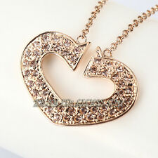 A1-P365 Fashion Rhinestone Heart Necklace Pendant 18KGP Swarovski Crystal
