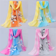 Women Girls Lady Chiffon FLoral Long Soft Neck Scarf Shawl Scarves Stole Wraps