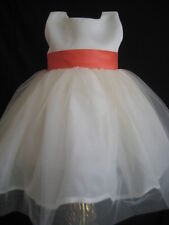 IVORY PALM BEACH CORAL INFANT WEDDING FLOWER GIRL DRESS 6 9 MO MONTH CLEARANCE