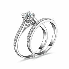 2PC CZ .925 STERLING SILVER WEDDING ENGAGMENT RING SET WOMEN'S SIZE 4-10 SS11881