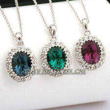 Fashion CZ Simulated Amethyst Sapphire Emerald Necklace Pendant 18KGP Crystal