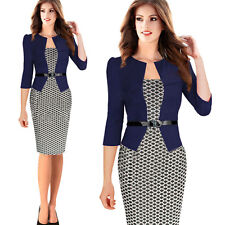 Womens Celeb Square Neck Bodycon Wear to Work Party Business Pencil Sheath Dress