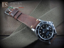 20 mm Genuine Italian Leather CUOIO VINTAGE Watch Strap Band for Rolex Brown