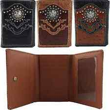 Western Cowboy Trifold Ostrich Tooled PU Leather Silver Star Concho Mens Wallet