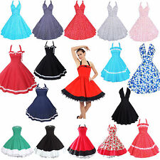 1950s 60s Sexy Retro Vintage Swing Rockabilly Pinup Party Prom Halterneck Dress