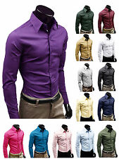 Men's Luxury Stylish Formal Dress Shirts Slim Fit T-Shirts Casual Long Sleeve
